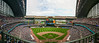 A panoramic view of Miller Park in MIlwaukee, Wisconsin