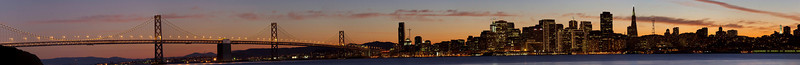 Panorama of a sunset in San Francisco.