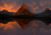 Fire In The Mirror - SwiftCurrent Lake - Glacier National Park, Montana