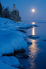 Full moon rising at Splitrock Lighthouse