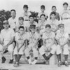 METHODIST CARDINALS about 1963—Front row left to right: Billie Dickson, coach, Johnny Gaskins, Paul Kline, Robert Connell, Skipper Richards.<br /> 2nd row: Ray Bostic, Bob Gaskins, Terry Lee, Jimbo Fuller. <br /> Back row: Don Roberson, manager, Earl Dean, David Rentz, Lamar Joiner, Jimmy Harris, Not in photo, David Navarro.<br /> Photo from Berrien Press insert provided by Chris Avera.