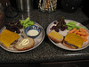 Cheeseburgers with veggies and grapes, 03/11/2013