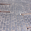 Pavement stones and rails in Cracow, Poland