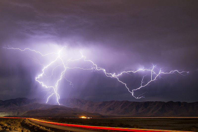 Great Salt Lake summer lightning storm