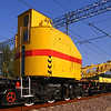 Train crane carriage. Special railway wagon. Transportation and industry concept.