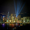 The HongKong skyline lit up from the light show that evening.
