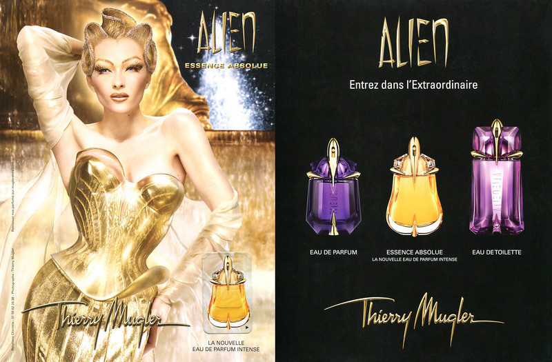 MUGLER Alien Essence Absolue (  Eau de Parfum   Eau de Toilette) 2012 France 'La nouvelle Eau de Parfum Intense - Entrez dans l'extraordinaire' recto-verso with scented sticker
