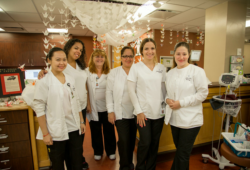 "The Infusion Center participated in the Open House for MAGNET recognition in Holy Name Medical Center by creating a ""Thousand Cranes"" themed room at HNMC. 7/28/14  Photo by Victoria Matthews/Holy Name Medical Center"