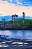 Sunrise, Cape Neddick Lighthouse, Nubble Light, York Beach, Maine, USA