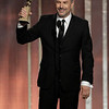 "70th ANNUAL GOLDEN GLOBE AWARDS -- Pictured: Winner Kevin Costner, Best Actor - Mini-Series or TV Movie, ""Hatfields & McCoys"" on stage during the 70th Annual Golden Globe Awards Beverly Hilton Hotel on January 13, 2013  ©2013 Image and Style Magazine, NBC Broadcasting, Inc. All Rights Reserved"