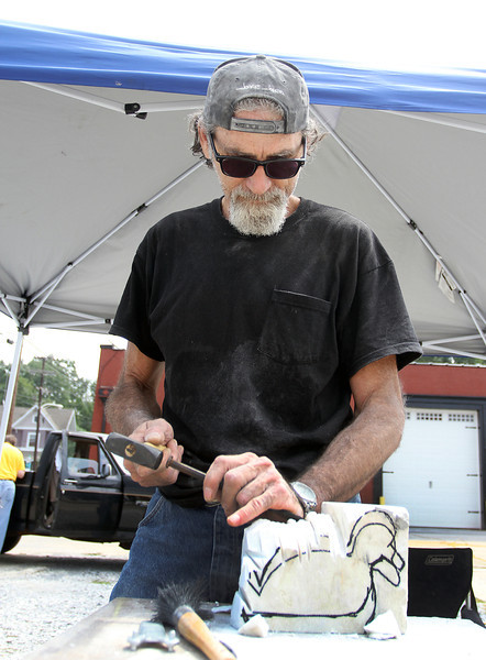 "Steve Stone of Alex City asked if he could be a   carver on  2nd Saturdays  after  reading  about the marble festival in Alabama Power's  ""Currents"" magazine. He says the  carving events  ""awakened the dreamer""  in him."