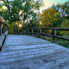 Bridge along a trail near the Oahe Downstream Recreation Area