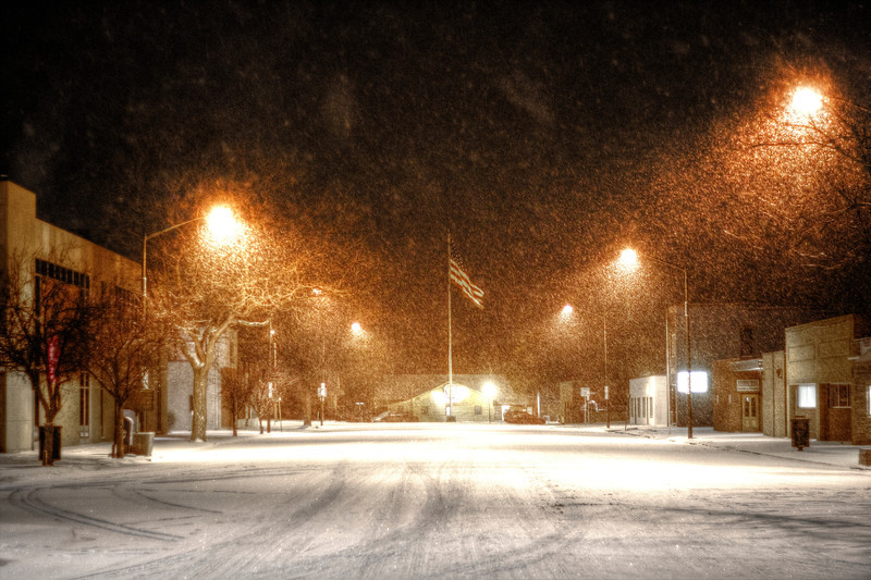 Snowing over main street in Pierre
