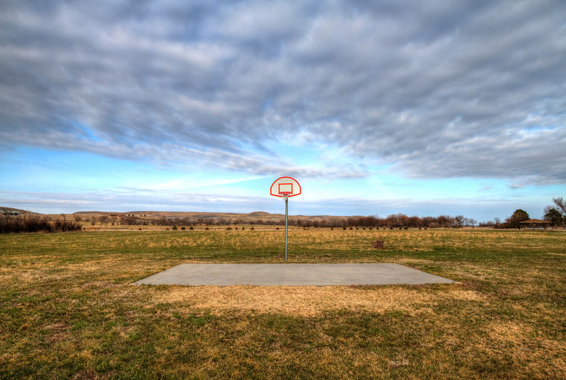 Basketball court near Farm Island
