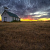 Sunset near an old church along highway 1806 south of Ft. Pierre