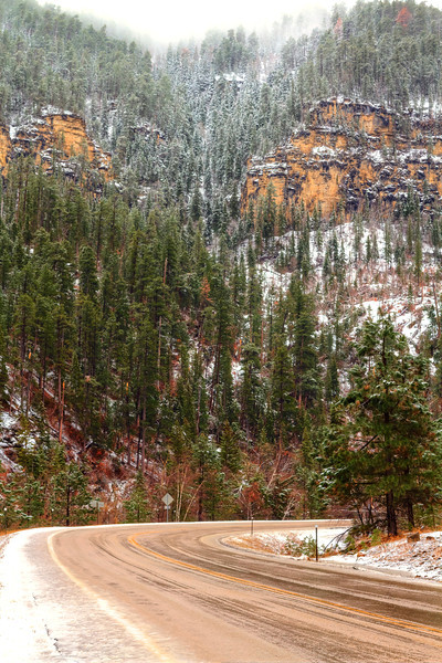 Fog and snow in Spearfish Canyon