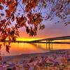 Autumn sunset along the shore of the Missouri River in Pierre