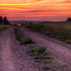 Sunset over a road near Oahe Dam