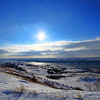Winter sun over the Missouri River near Oahe Dam