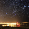 Star trails over Oahe Dam