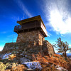 Shining sun over Custer Peak lookout