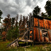 Old house near the ghost town of Carbonite above the rim of Spearfish Canyon