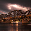 Lightning over the train bridge in Pierre