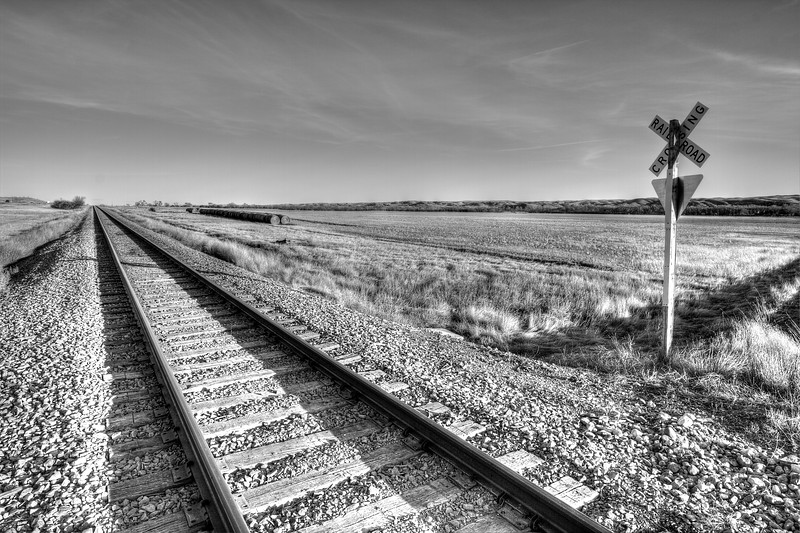 Train crossing east of Pierre