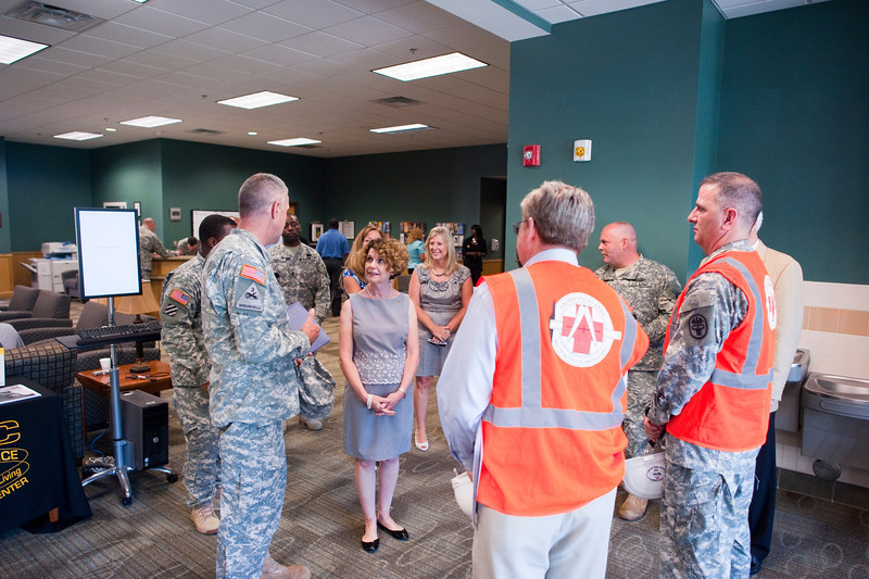 (FORT BENNING, Ga) Linda Odierno visits the WTB (Warrior Transition Battalion) and the construction site for the new hospital during her and Gen. Raymond Odierno's visit to Fort Benning, 18 July, 2013. The Chief of Staff of the Army's visit to Fort Benning included the dedication of the 4th Infantry Division monument at the National Infantry Museum.  (Photos by: Patrick A. Albright/MCoE PAO Photographer)