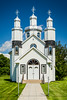The exterior of the Holy Trinity Ukrainian Orthodox Church in Vita, Manitoba, Canada.
