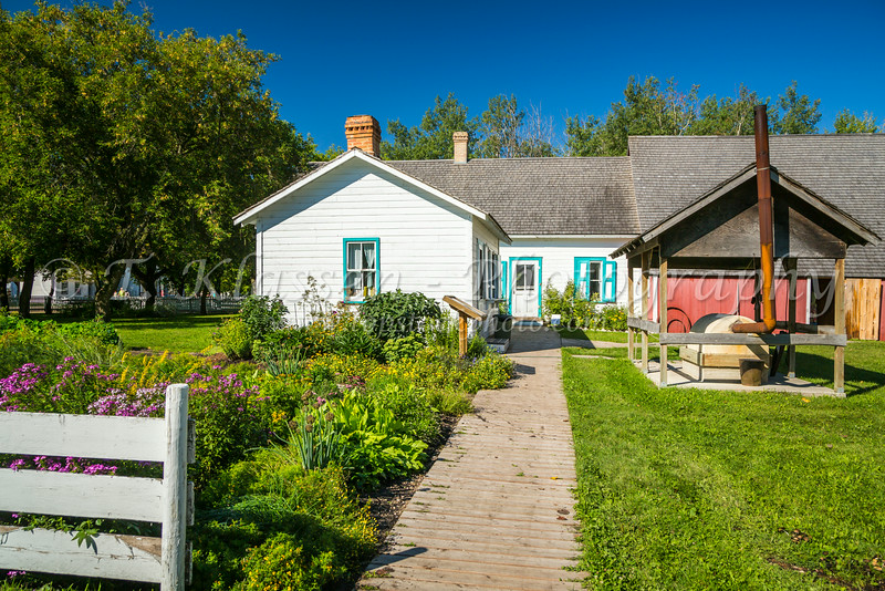 The house barn at the Mennonite Heritage Village in Steinbach, Manitoba, Canada.