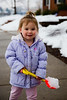 Mia with a shovel full of snow 1 - 2014-02-15