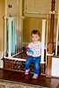 Mia planted at the foot of the stairs waiting for her Nana to come down - 5-5-2013