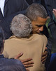 President of the United States Barack Obama hugs a Supporter