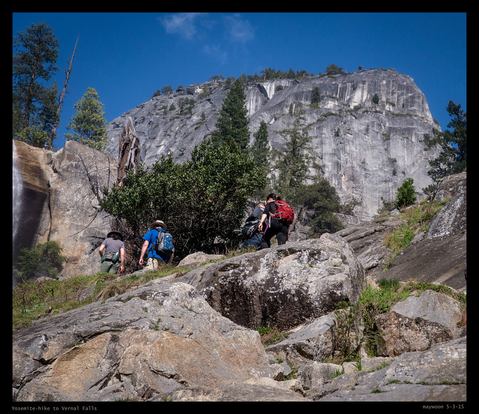 Hiking to Vernal Falls. Go up hill was hard.