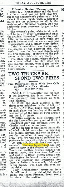 TWO TRUCKS (ENGINES) TWO FIRES