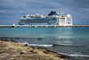The cruise ships Norwegian Dawn and the Norwegian Epic docked at Costa Maya, Mexico.