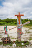 Catholic Church icons in the beachside village of Mahahual, Mexico.