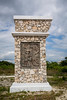 An entrance gate of Mayan design near the village of Mahahual, Mexico.