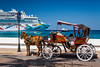 Horse and buggy with cruise ships in the port of Cozumel, Mexico.
