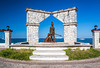 A seaside monument along the malecon in the port of Cozumel, Mexico.