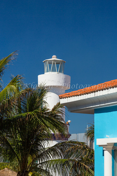 A lighthouse at the port of Cozumel, Mexico.