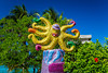 Decorative seaside sculptures along the malecon in the port of Cozumel, Mexico.