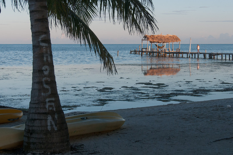 View of the beach in Caye Caulker, Belize