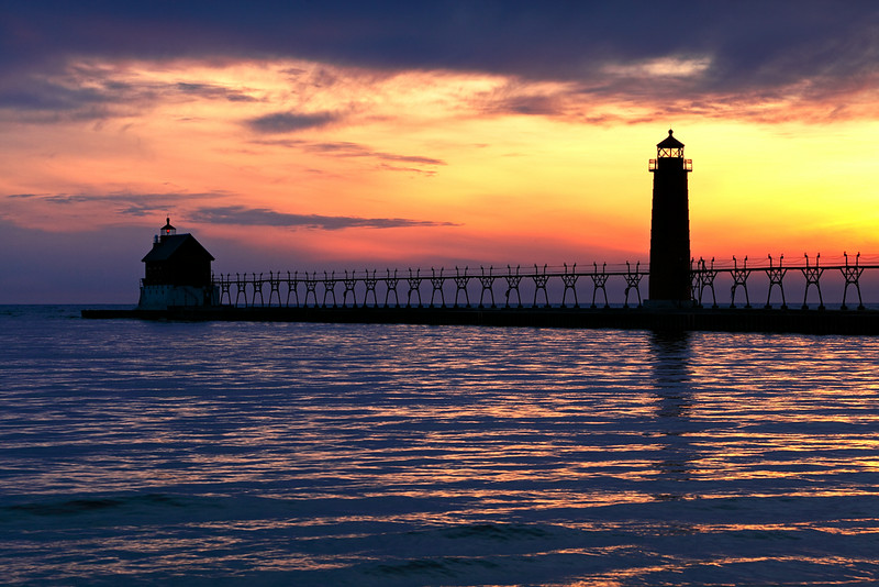 Purpling Light - Grand Haven South Pierhead Lights (Grand Haven, MI)