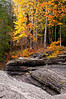 M 157                          Autumn color along the exposed shale riverbed of the Presque Isle River in the Porcupine Mountains Wilderness State Park, Michigan.