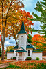 The Crouse Memorial chapel with fall foliage color in Petoskey, Michigan, USA.