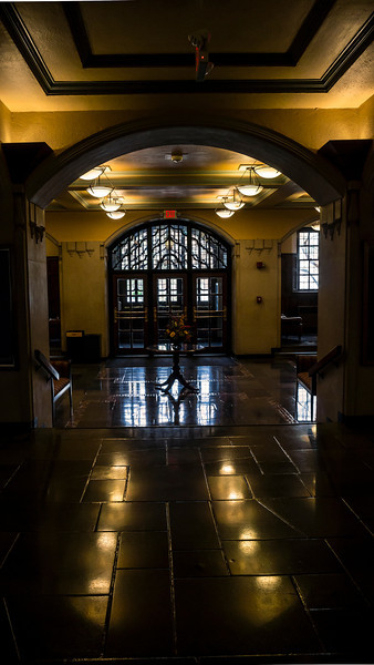 Empty on Commencement Saturday.  Everyone's over at 'The Big House'.  Main lobby of the Michigan League, looking out the west entrance, which faces the mall and Hill Auditorium and Burton Tower. University of Michigan Central Campus Ann Arbor, Michigan' May 4, 2013