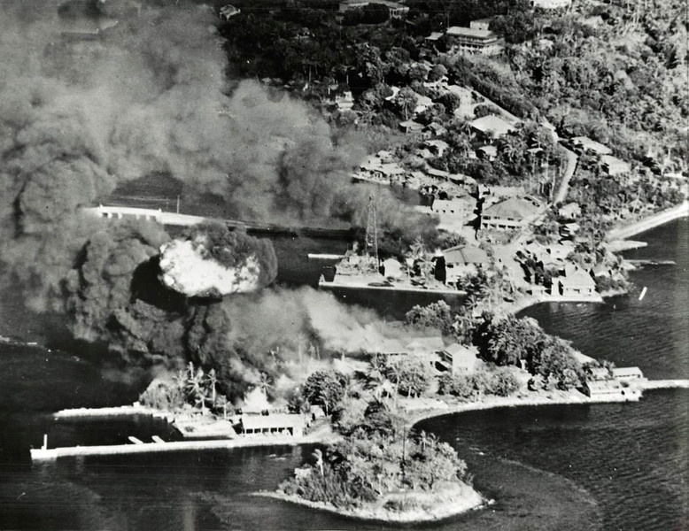 United States Navy photo of the Pacific Fleet's carrier-based air strike on Colonia, Yap, on March 29-30, 1944.