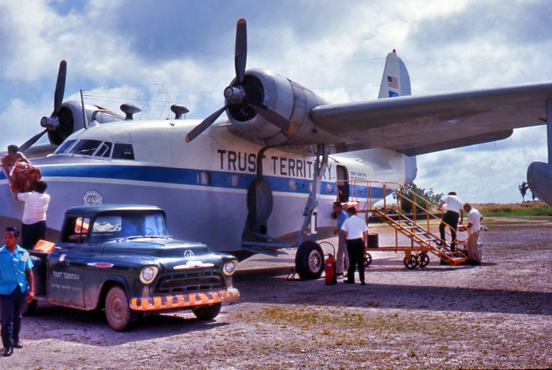 """The Trust Territory's SA-16 Grumman """"Albatross"""" on Chuuk in 1964.  This photo by Major Joseph Gervais (who was on Chuuk at the time,  hunting for Amelia Earhart's downed Electra)  comes from the  <a href=""""http://www.lostclipper.com"""">http://www.lostclipper.com</a> website, by way of Tom Holladay (Micro 1 on Yap)."""